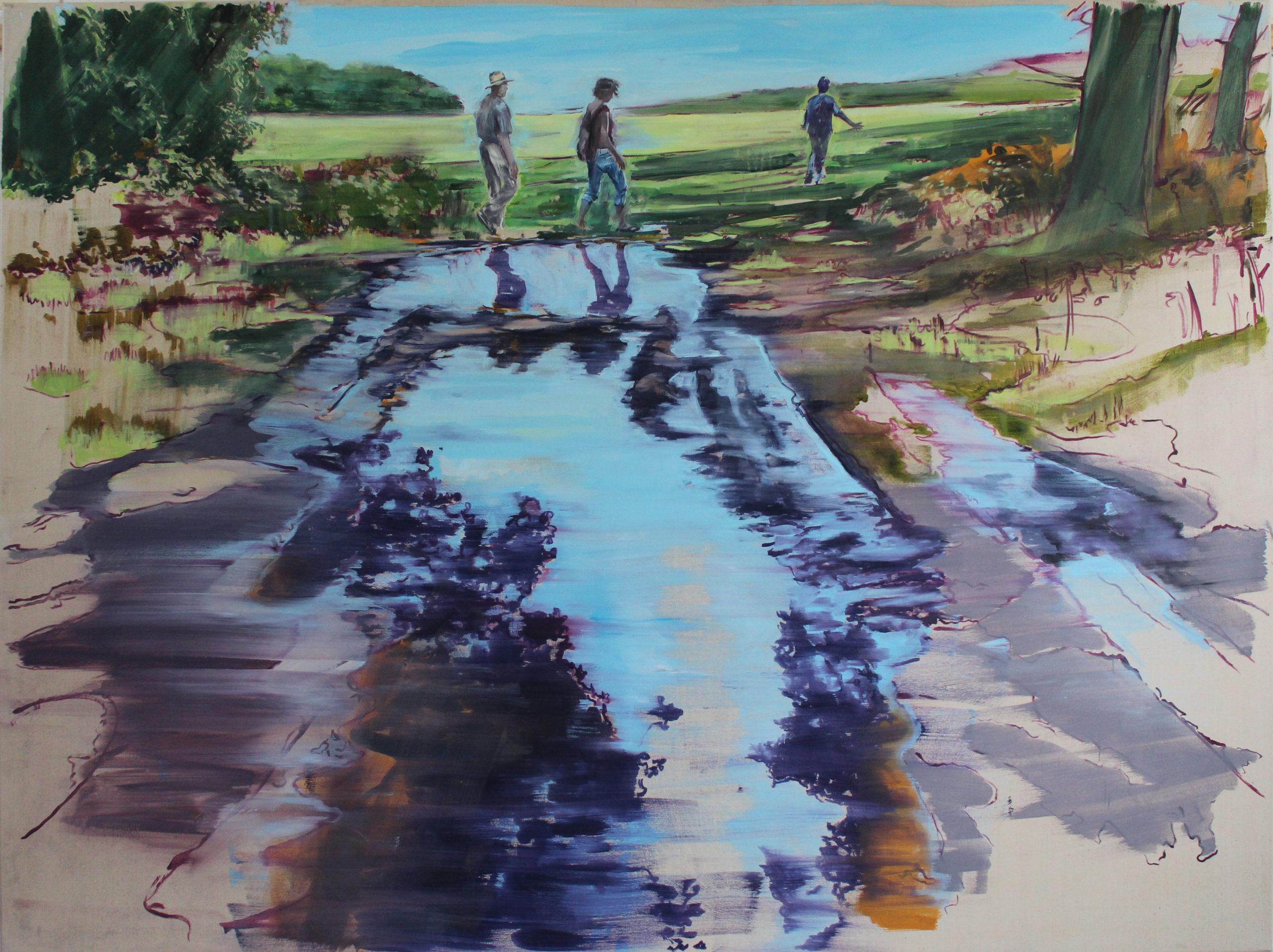 Spiegelung - der Spaziergang, 2017, 150x200 cm, Ölfarbe auf Leinwand